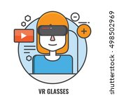 vr glasses flat color line... | Shutterstock .eps vector #498502969