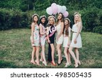 girlfriends and bride celebrate ... | Shutterstock . vector #498505435