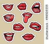 set of red female lips and... | Shutterstock .eps vector #498505555