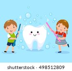 vector illustration of boy and... | Shutterstock .eps vector #498512809