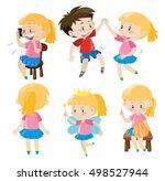 girl and boy doing activities... | Shutterstock .eps vector #498527944
