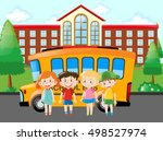 kids with school bus | Shutterstock .eps vector #498527974