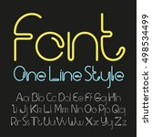vector linear font   simple and ... | Shutterstock .eps vector #498534499