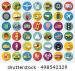 set of transport icons in flat... | Shutterstock .eps vector #498542329