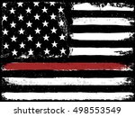 tattered flag red line fire | Shutterstock .eps vector #498553549