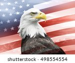 Bald Eagle With American Flag...