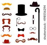 mustache .cylinder cane watch... | Shutterstock .eps vector #498556294