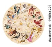 zodiac circle   complete set of ... | Shutterstock . vector #498566224