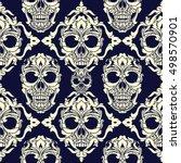 ornamental skull seamless... | Shutterstock .eps vector #498570901