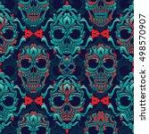 ornamental skull seamless... | Shutterstock .eps vector #498570907