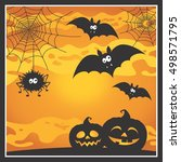 halloween scene with cartoon... | Shutterstock .eps vector #498571795