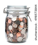 Glass Jar With Coins On White