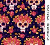 skull and flowers. seamless... | Shutterstock .eps vector #498581401