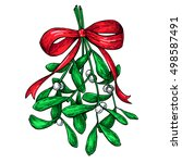mistletoe with red bow.... | Shutterstock .eps vector #498587491