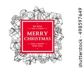 christmas holiday frame with... | Shutterstock .eps vector #498597649