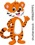 cute tiger cartoon giving thumb ... | Shutterstock .eps vector #498609991