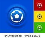 soccer ball on blue bevel round ... | Shutterstock .eps vector #498611671