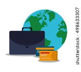 suitcase and digital marketing... | Shutterstock .eps vector #498633307