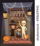 happy halloween night party... | Shutterstock .eps vector #498659941