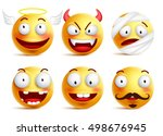 set of vector smileys with... | Shutterstock .eps vector #498676945