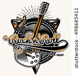 rock and roll guitar music... | Shutterstock .eps vector #498685411