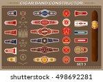 vintage cigar band set. design... | Shutterstock .eps vector #498692281