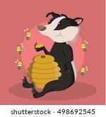 honey badger eating honey | Shutterstock .eps vector #498692545
