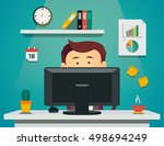 cartoon man sitting on computer.... | Shutterstock .eps vector #498694249