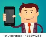 business man show smart phone.... | Shutterstock .eps vector #498694255