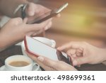 hand man and blurred hand women ... | Shutterstock . vector #498699361