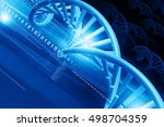 3d Dna Structure On Blue...