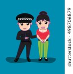 lady police arrested a woman | Shutterstock .eps vector #498706879