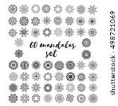 set of mandalas. sixty round... | Shutterstock .eps vector #498721069