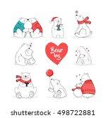 hand drawn polar bear  cute... | Shutterstock .eps vector #498722881