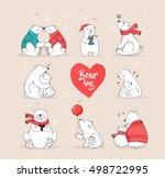 hand drawn polar bear  cute... | Shutterstock .eps vector #498722995