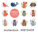 set of eleven cute animals with ... | Shutterstock .eps vector #498724459