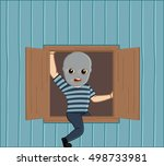 robber stepping out from house... | Shutterstock .eps vector #498733981