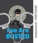busted robber | Shutterstock .eps vector #498733987