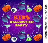 halloween party poster. banner  ... | Shutterstock .eps vector #498754135