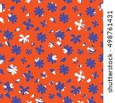 flowers seamless vector pattern ... | Shutterstock .eps vector #498761431