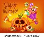 happy halloween concept card... | Shutterstock .eps vector #498761869