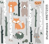 forest seamless background with ... | Shutterstock .eps vector #498772555