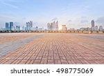 empty floor with modern skyline ... | Shutterstock . vector #498775069
