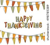 happy thanksgiving postcard.... | Shutterstock .eps vector #498785389