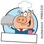 cartoon logo mascot waiter pig... | Shutterstock .eps vector #49881310