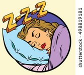 comic girl sleeping in bed | Shutterstock .eps vector #498819181