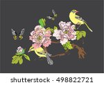 vector birds and peonies for... | Shutterstock .eps vector #498822721