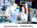workshop with drill and a lot... | Shutterstock . vector #498831961