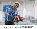 senior hispanic worker... | Shutterstock . vector #498843205