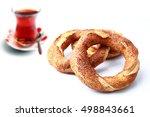 fresh turkish bagel and tea on... | Shutterstock . vector #498843661